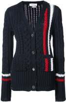 Thom Browne ARAN CABLE V-NECK CARDIGAN WITH VERTICAL INTARSIA STRIPE IN NAVY FINE MERINO WOOL