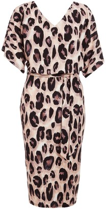 Quiz Animal Print Double V Neck Batwing Wrap Dress - Stone/Black