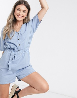 JDY chambray playsuit in blue
