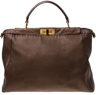 Fendi Metallic Brown Selleria Leather Large Peekaboo Top Handle Bag