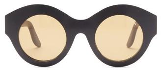 Lapima Vera Oversized Round Acetate Sunglasses - Black