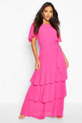 boohoo Flare Sleeve Tiered Ruffle Maxi Bridesmaid Dress
