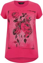 Yours Clothing Yoursclothing Plus Size Womens Hot Rose Print T-shirt With Curved Hem
