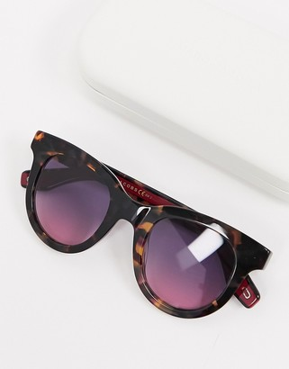 Marc Jacobs round sunglasses in tortoise shell with pink lens