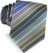 Missoni Multicolor Diagonal Striped Woven Silk Narrow Tie