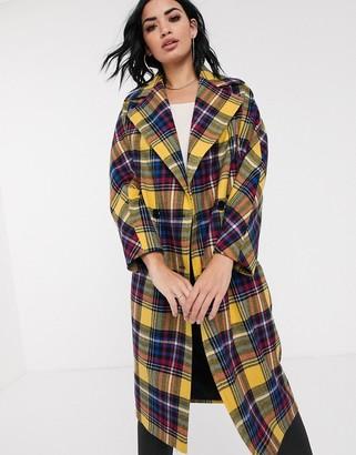 Helene Berman oversized check coat in wool blend