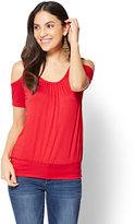 New York & Co. Soho Soft Tee - Shirred Cold-Shoulder Tee