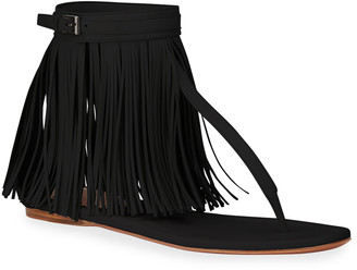 Alaia Veau Maxi Fringe Thong Sandals
