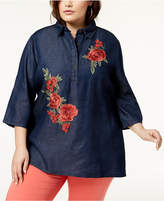 Say What Trendy Plus Size Cotton Embroidered Denim Top