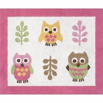 "JoJo Designs Sweet Happy Owl Kids Cotton White/Pink Area Rug Sweet Rug Size: Rectangle 2'6"" x 3'"