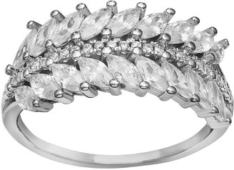 Marquis Primrose Sterling Silver Leaf Cubic Zirconia Ring
