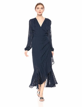 ASTR the Label Women's Side Cinched Long Sleeve Ruffle Wrap Maxi Dress
