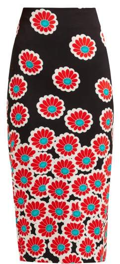 Diane von Furstenberg Kara Blossom Print Pencil Skirt - Womens - Black Red