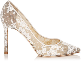 Jimmy Choo ROMY 100 Ivory Floral Lace Pointy Toe Pumps