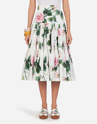 Dolce & Gabbana Poplin Tropical Rose Print Circle Longuette Skirt