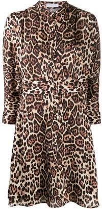 Equipment leopard print cropped sleeve dress