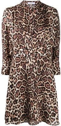 Equipment Leopard Print Cropped Sleeve Dress