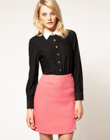 Sonia by Sonia Rykiel Wool Jersey Shirt with Silk Woven Contrast Collar
