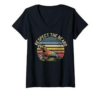 Dragon Optical Womens Respect the Beard Funny Bearded Gift Design V-Neck T-Shirt
