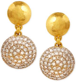Gurhan Lentil Ice 24k Gold & Diamond Drop Earrings