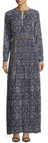 MICHAEL Michael Kors Long-Sleeve Printed Plisse Maxi Dress w/ Chain Belt