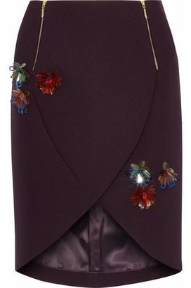 DELPOZO Wrap-effect Floral-appliqued Twill Mini Skirt