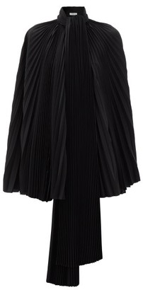 Balenciaga Pleated-satin Cape Top - Black