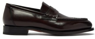 Santoni Colin Leather Penny Loafers - Mens - Dark Brown