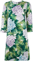 Dolce & Gabbana hydrangea print shift dress - women - Silk/Spandex/Elastane - 42