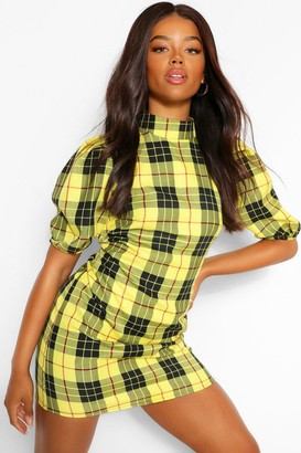 boohoo Check High Neck Shift Dress