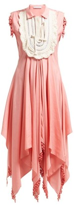 J.W.Anderson Rope-embroidered Beaded Handkerchief Dress - Womens - Light Pink