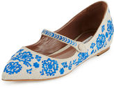 Tabitha Simmons Hermione Embroidered Linen Flat