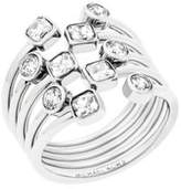 Michael Kors Modern Brilliance Layered Crystal Ring/Silvertone