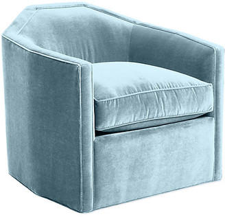 Mr & Mrs Howard Speakeasy Swivel Club Chair - Sky Blue Velvet