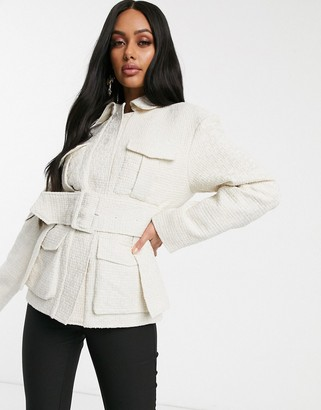 NA-KD belted tweed utility jacket in off white