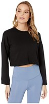 Beyond Yoga Tunnel Sleeve Cropped Pullover (Black) Women's Clothing