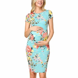 So Buts Maternity Dress SO-buts Women's Maternity Short Sleeve O-Neck Flower Floral Print Bodycon Midi Dress Pregnancy Clothes (Blue L)