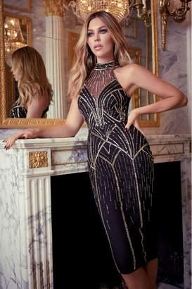 Lipsy Abbey Clancy x Hand Embellished Sequin Halter Midi Dress - 10 - Black