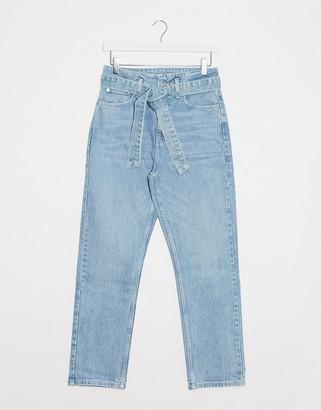 Topshop paperbag waist straight leg jeans in bleach