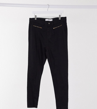 Yours split-front skinny jeans in black