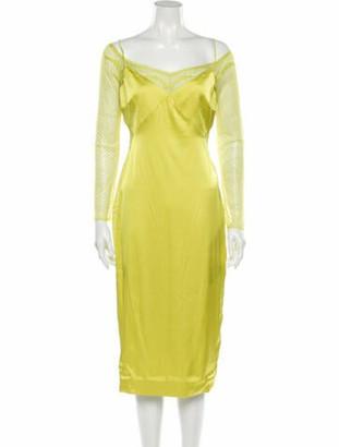 Cushnie Off-The-Shoulder Midi Length Dress Green