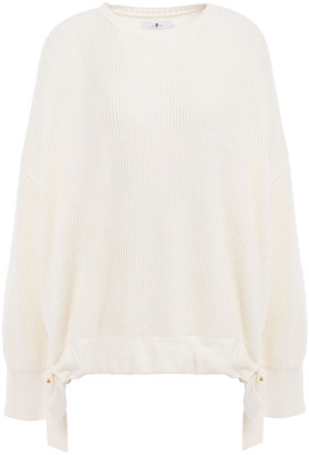 7 For All Mankind Gathered Ribbed Cotton And Wool-blend Sweater