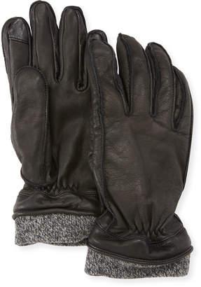 Neiman Marcus Men's Leather Tech Gloves w/Wool Cuff