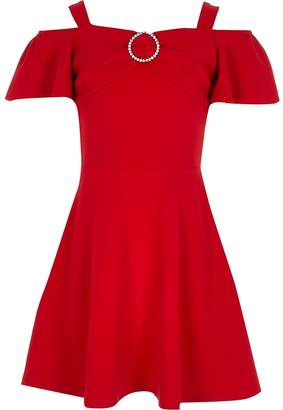 River Island Girls red bardot diamante brooch skater dress