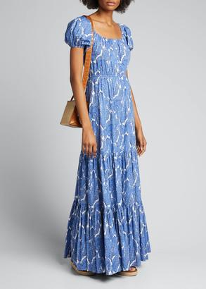 Caroline Constas Bardot Paisley-Print Short-Sleeve Maxi Dress