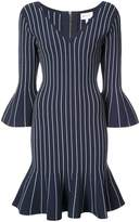 Milly striped peplum hem dress