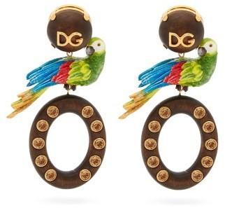 Dolce & Gabbana Parrot Drop Clip Earrings - Womens - Multi