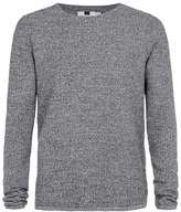 Topman Salt And Pepper Gridstitch Crew Neck Sweater