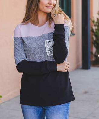 Tickled Teal Women's Tee Shirts Pink/gray/black - Pink & Gray Color-Block Lace Pocket Pullover - Women
