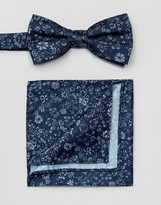 Selected Bow Tie & Pocket Square Set Floral